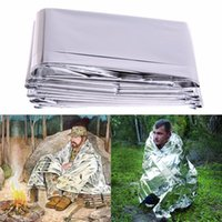 210 * 130cm Portáteis Outdoor Sport Climbers Life-saving Military Emergency Blanket Sobrevivência Rescue Isolamento Silver Golden Curtain Blanket