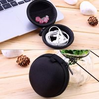 Wholesale New Mini Earphone Headphone Bag Cable SD Card Portable Coin Purse Carrying Zipper Bag Pouch Pocket Case Headset box Round Storage Cover