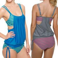 Wholesale Womens 5xl Swimsuit - Hot Sale Womens Sexy Plus Size Multicolour Stripes Tankini Swimsuit Beach Swimwear One Piece Suit Biquini ISP