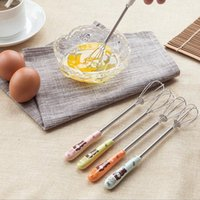 Wholesale Egg Cartoons - hotsale kitchen accessories egg tools cute cartoons ceramics handle stainless steel egg beaters mixing coffee egg stirings