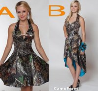 Reference Images split worsted - New Camo Short country boho Bridesmaid Dresses Halter A Line Short Hi Lo Backless Fashion Plus Size Cheap Wedding Party Dress