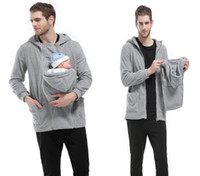 Wholesale Jacket Holder - 2016 New Maternity Carrier Baby Holder Jacket For Father Long Sleeve Zipper Multi Function Kangaroo Mens Hoodies SF11-11