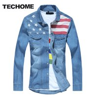All'ingrosso Marca TECHOME 2016 nuovi uomini shirt jeans slim fit marca Camicie Casual Denim cotone a maniche lunghe Mens Cowboy Shirt Jeans Uomo