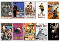 Wholesale Picture Cards - Wholesale- 10 pcs set Charles Spencer Chaplin Series Movie Poster Picture Souvenir Card Sticker DIY Decoration Self-Adhesive Stickers 1023