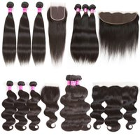 Brazilian Virgin Hair Body Wave Straight Cabelo humano Weave Bundles com 4X4 Encerado e 13x4 Lace Frontal Weaves Encerramento com bunde deal