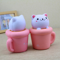 Wholesale squeeze cup - Arrival 14CM Jumbo Squishy Kawaii Cup Cat Pussy Squeeze Cute Animal Slow Rising Scented Bread Cake Kid Toy Gift Doll