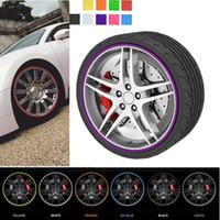 ingrosso ruote auto di bmw-8m Car Styling Tyre Tire Rim Care Protector Ruota del mozzo Adesivi Strip per BMW Golf 4 Opel Astra Toyota Mazda CEA_307