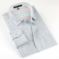 Wholesale Flax Dress Xl - Brand high quality Linen Men's Shirts Long Sleeve Male Casual Business Shirts Flax dress shirt for man