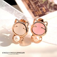 Rose Gold Color Cute Kitty Design Opal y perla simulada mujer Stud pendientes al por mayor (blanco / rosa)