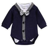Wholesale Tuxedo Girl Costume - Baby boys Tuxedo Rompers Toddler INS long sleeve big bow romper bodysuit set Children cotton jumpsuit casual costume