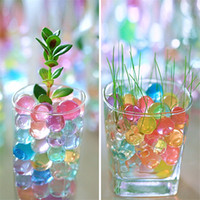 Wholesale Toy Magic Crystal Ball - 50pcs Crystal Soil Mud Grow Water Beads Hydrogel Magic Gel Jelly Balls Orbiz Sea Baby Growing in Water Vase Home Decor