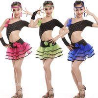 Wholesale latin dance show - Latin Dance Competition Costume For Girls High Quality Diamonds Latin Fringe Dress For Stage show New Kids Latin Tassel Skirt