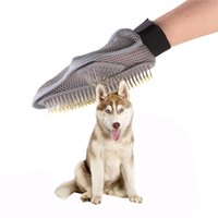 Wholesale Dog Glove Hair Brush - Products For Pet Dog Shower Brush Pet Double Side Bath Massage Large Dog Hair Clean Gloves Bath Cleaning Supplies Pet Bath Comb 0704078