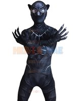 black panther costumes - D Shade Civil War Black Panther Costume Spandex Fullbody Halloween Male Superhero Costume Hot Sale Zentai Suit