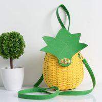 ingrosso imballaggio per cannucce-Borsa di paglia Borsa di frutta carino Pacchetto di ananas Borse a mano fatte a mano con le borse a tracolla intrecciate a mano