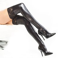 Wholesale Latex Thigh High Socks - Wholesale- 2016 New Arrival Sexy Womens Lady Girls Black Thigh High Stockings With Lace Spandex Latex Rubber Hot Selling