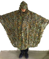Wholesale ghillie suits - Free shipping Leafy Camo Cloak Poncho Jungle Ghillie Suits Hunting Camouflage 3D Bionic Leaf Yowie Mesh for Hunting