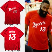 Wholesale T Shirt 13 - James harden basketball jersey 2017 summer cotton red fashion t-shirt rocket #13 print t shirt men camisetas hombre,tx2422