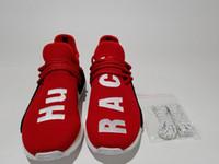 zapatos originales de la raza humana al por mayor-Red Hu Race 2016 BB0619 Factory HUMAN RACE Shoes Pharrell Williams X Top Originals Calidad REAL zapatos Parte inferior con pezones Zapatos para correr