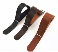 Wholesale nato leather strap - Wholesale- Wholesale 10PCS lot High quality 16MM 18MM 20MM 22MM 24MM PU leather nato straps Imitation leather Watch band watch strap 3color