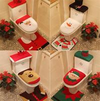 mejores asientos al por mayor-4 Estilos Merry Christmas Decoration Funda de Asiento de Inodoro Santa Elk Elf Rug Hotel Set de Baño Best Xmas Decorations Gifts
