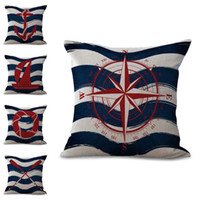 Wholesale compass pillow - Sailing Stripe Boat Anchor Compass Life Buoy Pillow Case Cushion Cover Linen Cotton Throw Pillowcases Sofa Car Decorative DROP SHIPPING