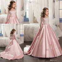 Wholesale New Girl Long Gowns - 2017 New Girls Pageant Dresses Jewel Neck Long Sleeves Pink Satin Crystal Beading Kids Flower Girls Dress Ball Gown Cheap Birthday Gowns