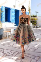 Wholesale Vintage Butterfly Picture - Ball Gown Homecoming Dresses 2017 with Colorful Butterfly and Sweetheart Neckline Nude and Black Short Prom Dress Sleeveless Custom Made