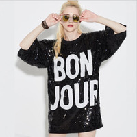 Crew Neck black sequin coat - BON JOUR Women Tops Long Section Of The Sleeves Round Sleeve Collar Coat Nightclub Stage Sequins Costumes Fashion Tees