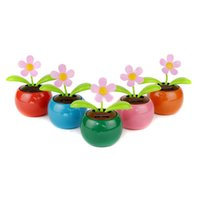Wholesale Solar Plastic Flowers - 20x New Flip Flap Solar Flower Flowerpot Swing Solar Dancing Toys Car Decor New Free Shipping