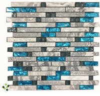 Wholesale Mosaic Tile Fireplace - Sea blue glass Mixed Grey Stone Mosaic,linear Bath shower Fireplace Kitchen wall tiles,Luxury Art wall sticker,LSSTG01