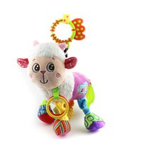 Wholesale Baby Lamb Toys - Wholesale- Top 31cm Baby Toys Stroller Cot Bed Hanging Crib Mobile Soft Lamb Sheep Rattle Lathe Teether Plush Toy Newborn Babies 0+ Month