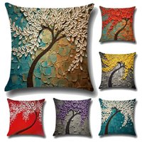 Wholesale Retro Flower Cushion Covers - Retro Cushion Cover Decoration Painting Color Flowers Decorative Pillow Case Print Digital Printing Cushion Cover Pillowslip for Gifts