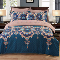 Wholesale 2017 New bedding set dovet set printed Luxurious blue with flower pattern dovet cover and pillow cases