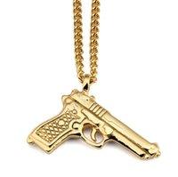 hip-hop-anhänger marke großhandel-Neue original flut marke titan stahl 92 pistole anhänger halskette hip hop halskette schmuck