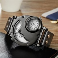 Wholesale Antique Military Buckles - Brand Luxury Brand Watches Men Army Military Dual Time Movement Mens Leather Starp Quartz Wrist Watch relogio masculino