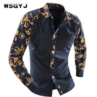 Wholesale Men Fancy Shirts - Wholesale- WSGYJ 2017 Men'S Fashion Men Shirt Fancy Stitching Tide Slim Square Collar Dress Long-Sleeved Male Shirt