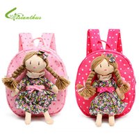 Wholesale Doll Braids - Wholesale-Children Backpack Kids Schoolbags Kindergarten Girls Little Bags Baby Satchel With Pretty Braids Girl Doll Free Drop Shipping