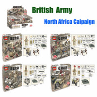 Wholesale Mini Model Building - D173 WW2 War in North Africa Militray With Weapons Army Soldier 4pcs set Building Blocks Bricks Mini Model Toys