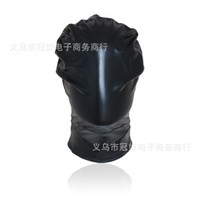 Wholesale High Quality Black Sex - 2017 High quality leather bondage hood full mask fetish face mask cap sex toys sex slave game for adults bondage device Q885