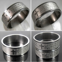 Wholesale Prayer Jewelry - Newest Etch Christian Serenity Prayer Cross Stainless Steel Ring Silver Fashion Jewelry Band Ring Size 8 to 12 For Man Women