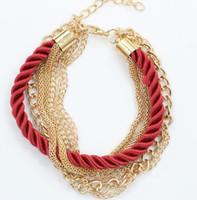 pulseiras de couro para mulheres venda por atacado-Mulher Charm Bracelet Weave Chains Moda para Meninas Mulheres Acessório Senhora Vestido de Festa Cordão de Couro Mutilayer Pulseiras Cadeia de Presente de Natal