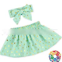 Wholesale Girls Ruffle Layer Skirt - Baby Girls Skirt Baby's Polka Peach Heart Gold Dots Skirts Big Bowknot Headband Layer Tulle Kids Skirt Short Dresses Skorts Mini Dress A6255