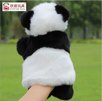 Wholesale Bedtimes Stories - Children Animal Panda Hand Puppet Baby Early Educational Cartoon Panda Dolls Kids Bedtime Stories Soft Plush Toys