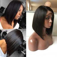 Wholesale Short Bobbed Hairstyles - Bob cut wig virgin hair Indian hair wig bob 7A human hair short bob wigs for african american women