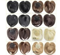 Wholesale Top Closure Bangs - Clip in on synthetic top closure hair fringe head skin hair bang hairpieces wiglet ,8 colours available Crown bangs