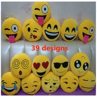 Wholesale Wholesale Adult Toys Dolls - 39 Designs Soft Emoji Smiley Emoticon Stuffed Plush Toys Doll Pillow Children Adult Expression Toys Keychain KeyRing Christmas Gifts HH7-57