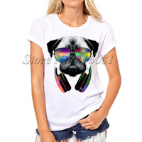 Wholesale Wholesale Swag Women - Wholesale-Summer New Womens T Shirts Pug Life DJ Dog Printed T Shirts Women Round Neck Short Sleeve Tees Shirt Clothes Swag