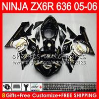Wholesale Kawasaki Lucky - 8Gifts 23Colors Bodywork For KAWASAKI NINJA ZX-636 ZX-6R 05-06 600CC 27NO18 ZX 636 ZX 6R 2005 2006 Lucky Strike ZX636 ZX6R 05 06 Fairing