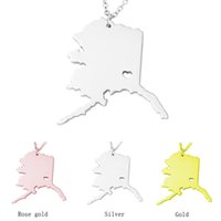 Wholesale Ak Stainless - Alaska Map Stainless Steel Pendant Necklace with Love Heart USA State AK Geography Map Necklaces Jewelry for Women and Men